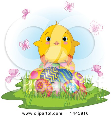 Clipart of a Cute Blue Eyed Baby Chick Sitting on Easter Eggs, Surrounded by Butterflies - Royalty Free Vector Illustration by Pushkin