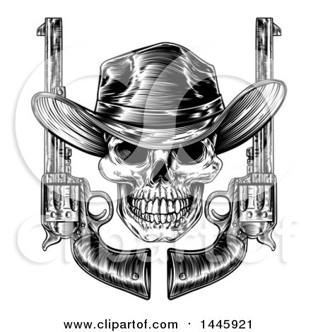 Clipart of a Black and White Woodcut Etched or Engraved Cowboy Skull with Six Shooter Pistols - Royalty Free Vector Illustration by AtStockIllustration