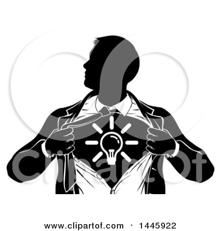 Clipart of a Black and White Silhouetted Creative Super Hero Business Man Ripping His Shirt Open and Revealing a Light Bulb - Royalty Free Vector Illustration by AtStockIllustration