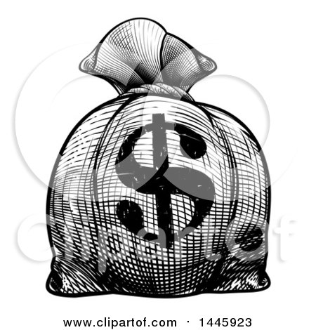 Clipart of a Black and White Engraved or Woodcut Styled USD Burlap Money Bag Sack - Royalty Free Vector Illustration by AtStockIllustration