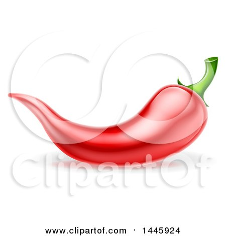 Clipart of a Red Chile Pepper - Royalty Free Vector Illustration by AtStockIllustration