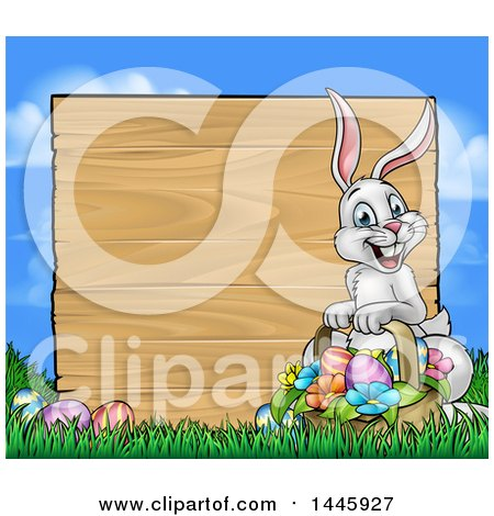 Clipart of a Happy Easter Bunny with a Basket of Eggs and Flowers in the Grass, with a Blank Wood Sign Against a Blue Sky - Royalty Free Vector Illustration by AtStockIllustration