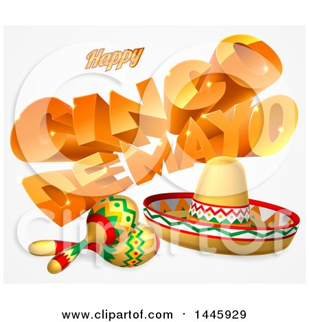 Clipart of 3d Orange Happy Cinco De Mayo Text with a Sombrero and Maracas - Royalty Free Vector Illustration by AtStockIllustration