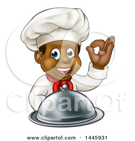 Clipart of a Cartoon Happy Young Black Male Chef Holding a Cloche Platter and Gesturing Perfect - Royalty Free Vector Illustration by AtStockIllustration