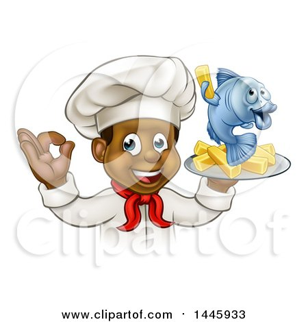 Clipart of a Cartoon Happy Young Black Male Chef Holding a Fish Character and Chips on a Tray - Royalty Free Vector Illustration by AtStockIllustration