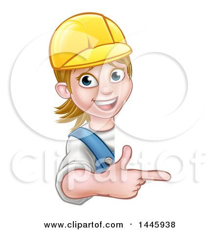 Cartoon Happy White Female Worker Wearing a Hardhat and Pointing Around a Sign Posters, Art Prints