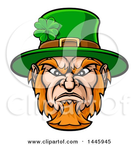 Clipart Of A Cartoon Tough Angry St Patricks Day Leprechaun Mascot Face Royalty Free Vector Illustration