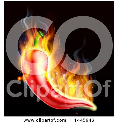 Clipart of a Flaming Red Chile Pepper over Black - Royalty Free Vector Illustration by AtStockIllustration