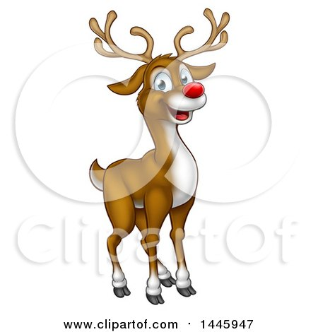 Clipart of a Happy Red Nosed Reindeer - Royalty Free Vector Illustration by AtStockIllustration