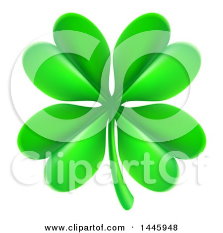 Clipart of a Green St Patricks Day Four Leaf Clover - Royalty Free Vector Illustration by AtStockIllustration