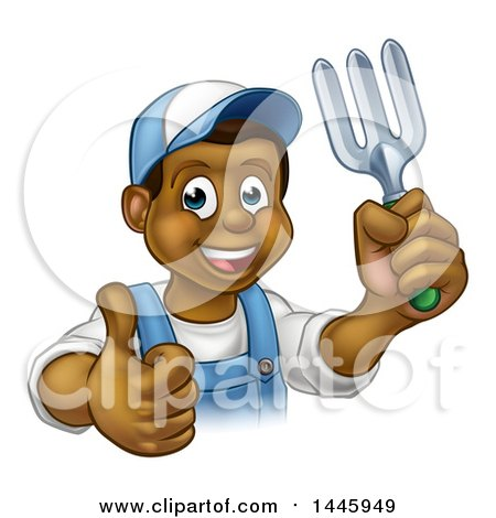 Clipart of a Cartoon Happy Black Male Gardener in Blue, Holding up a Thumb a Garden Fork - Royalty Free Vector Illustration by AtStockIllustration