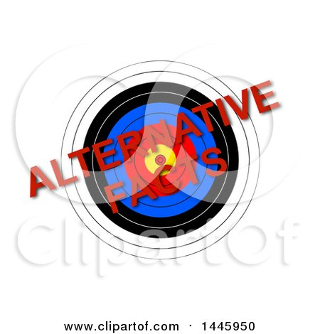 Clipart of a Target with Red Diagonal Alternative Facts Text, on a White Background - Royalty Free Illustration by oboy