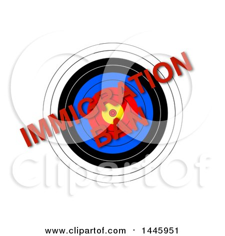 Clipart of a Target with Red Diagonal Immigration Ban Text, on a White Background - Royalty Free Illustration by oboy