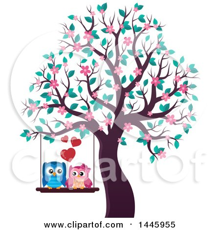 Clipart of a Sweet Owl Couple on a Swing in a Tree with Spring Blossoms - Royalty Free Vector Illustration by visekart