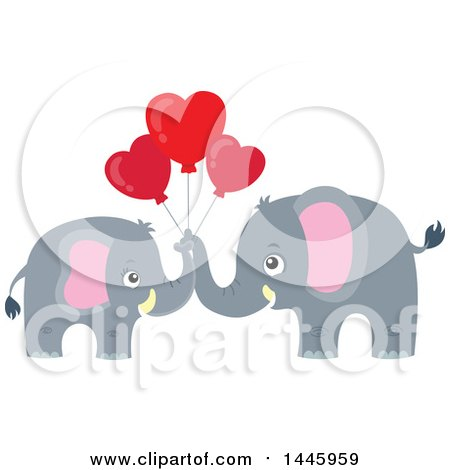 d896c3ae9b6de Clipart of a Cute Gray Elephant Couple Holding Heart Shaped ...
