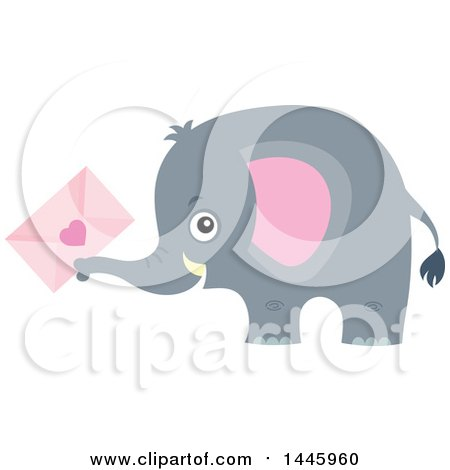0aa024048c248 Clipart of a Cute Gray Elephant Holding a Valentine Envelope ...