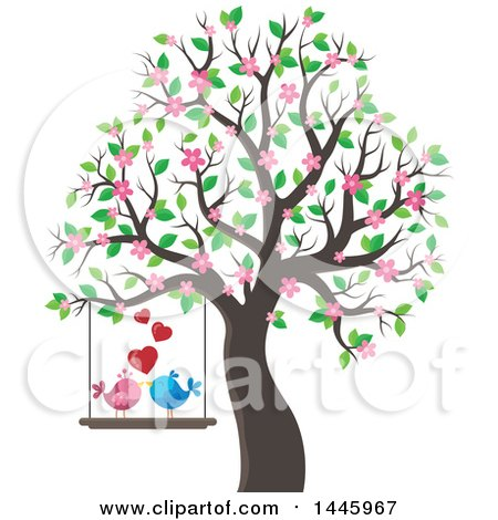 Clipart of a Pair of Valentine Birds on a Swing, with Hearts, Hanging from a Tree with Pink Blossoms - Royalty Free Vector Illustration by visekart