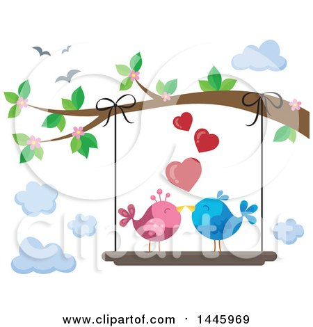 Clipart of a Pair of Valentine Love Birds on a Swing Hanging from a Tree Branch with Pink Blossoms - Royalty Free Vector Illustration by visekart