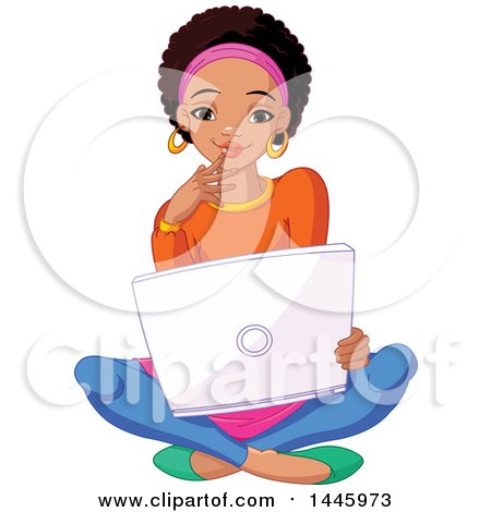 Clipart of a Beautiful Young Black Female College Student Sitting on the Floor with a Laptop - Royalty Free Vector Illustration by Pushkin