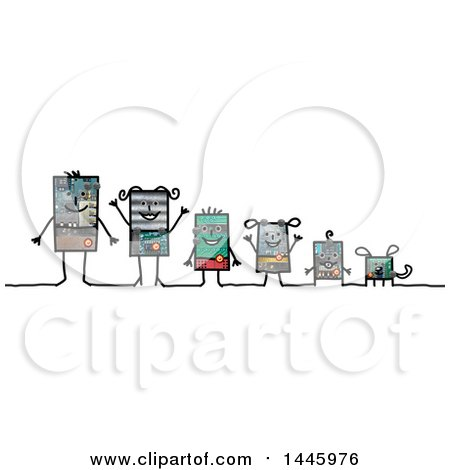 Clipart of a Robotic Family and Their Dog, on a White Background - Royalty Free Illustration by NL shop