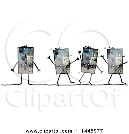 Clipart of Robotic Business Men Walking and Standing, on a White Background - Royalty Free Illustration by NL shop