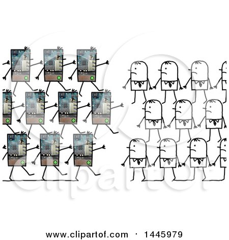 Clipart of a Marching Army of Robots and Stick Business Men in a War on Humans, on a White Background - Royalty Free Illustration by NL shop
