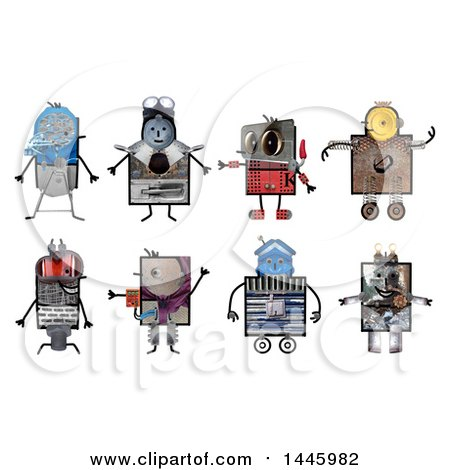 Clipart of Robots Made of Varius Materials, on a White Background - Royalty Free Illustration by NL shop