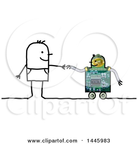 Clipart of a Stick Man Reaching out to Hold a Wheeled Robot's Hand, on a White Background - Royalty Free Illustration by NL shop