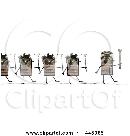 Clipart of a Line of Marching Soldier Robots Going to War, on a White Background - Royalty Free Illustration by NL shop