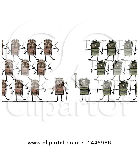 Clipart of a Clash of Marching Soldier Robots Going to War, on a White Background - Royalty Free Illustration by NL shop
