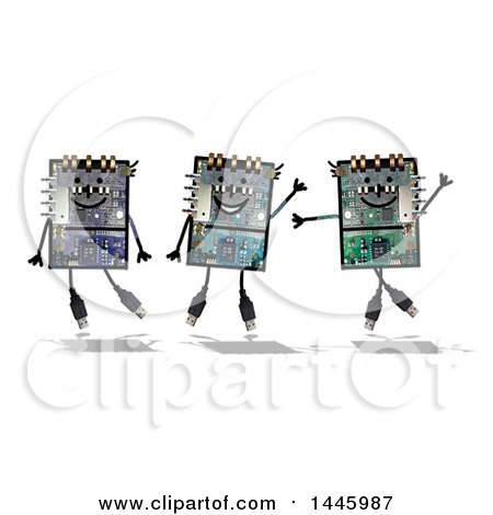 Clipart of Happy Computer Robots, on a White Background - Royalty Free Illustration by NL shop