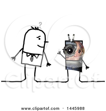 Clipart of a Sketched Stick Business Man Looking at an Alien, on a White Background - Royalty Free Illustration by NL shop