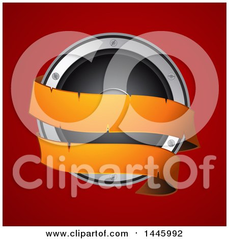 Clipart of a 3d Music Speaker with an Orange Banner over Red - Royalty Free Vector Illustration by elaineitalia