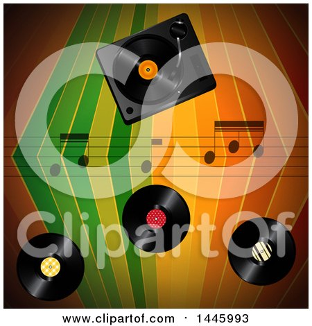Clipart of a Colorful Stripes Background with Music Notes and Vinyl Records - Royalty Free Vector Illustration by elaineitalia