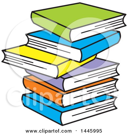 Clipart of a Cartoon Stack of Six Colorful Books - Royalty Free Vector Illustration by Johnny Sajem