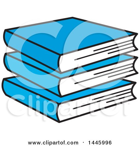 Clipart of a Cartoon Stack of Blue Books - Royalty Free Vector Illustration by Johnny Sajem