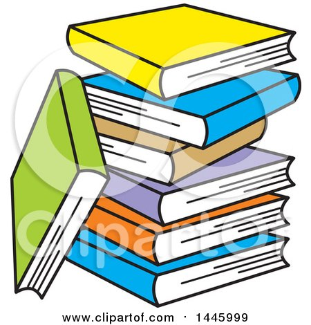 Clipart of a Cartoon Stack of Colorful Books - Royalty Free Vector Illustration by Johnny Sajem