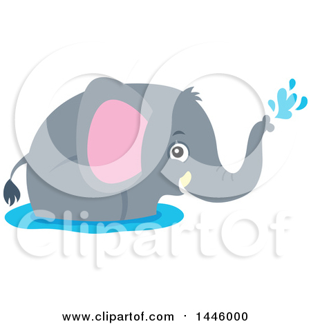 Clipart of a Cute Gray Elephant Playing in Water - Royalty Free Vector Illustration by visekart