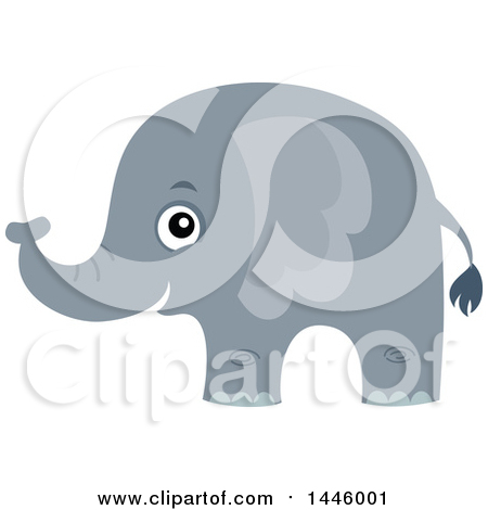 Clipart of a Cute Gray Elephant - Royalty Free Vector Illustration by visekart