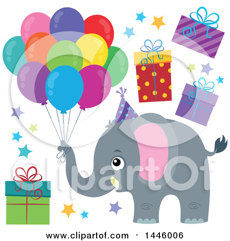 Clipart of a Cute Gray Elephant with Birthday Party Balloons, Stars and Gifts - Royalty Free Vector Illustration by visekart