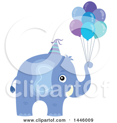 Clipart of a Cute Blue Boy Elephant with Birthday Party Balloons - Royalty Free Vector Illustration by visekart