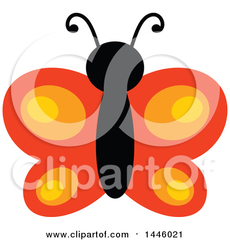 Clipart of a Flying Orange Butterfly - Royalty Free Vector Illustration by visekart