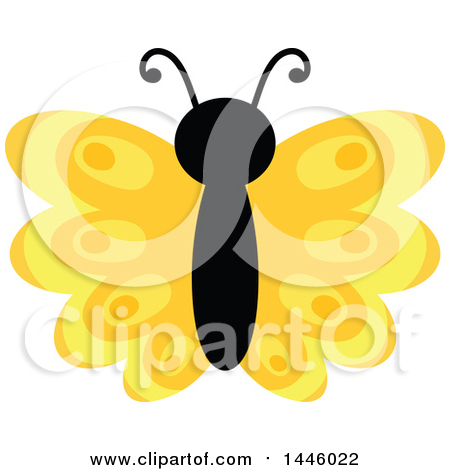 Clipart of a Yellow Butterfly - Royalty Free Vector Illustration by visekart