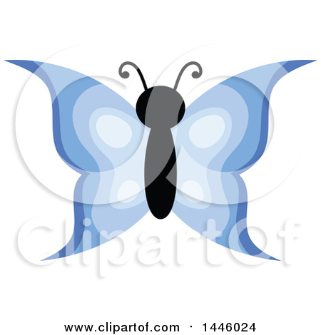 Clipart of a Blue Butterfly - Royalty Free Vector Illustration by visekart
