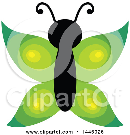 Clipart of a Green Butterfly - Royalty Free Vector Illustration by visekart