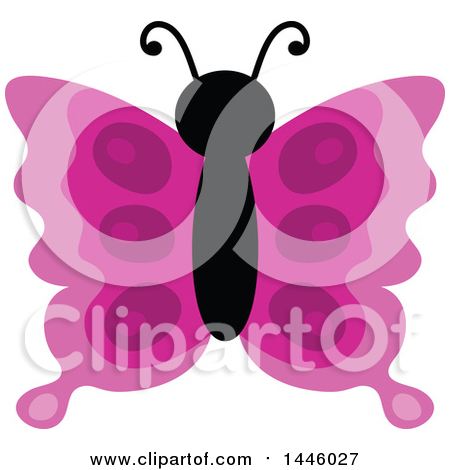Clipart of a Pink Butterfly - Royalty Free Vector Illustration by visekart