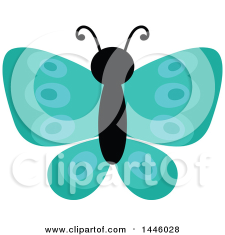 Clipart of a Turquoise Butterfly - Royalty Free Vector Illustration by visekart