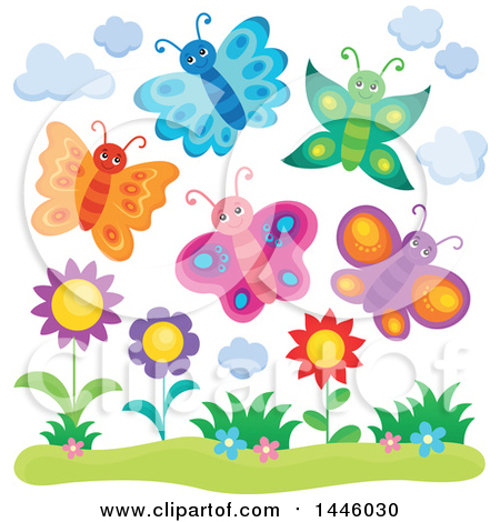 Clipart of a Group of Happy Spring Butterflies over Flowers - Royalty Free Vector Illustration by visekart