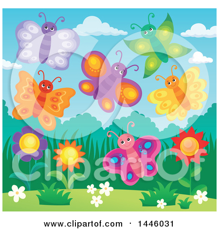 Clipart of a Group of Happy Butterflies over Spring Flowers - Royalty Free Vector Illustration by visekart