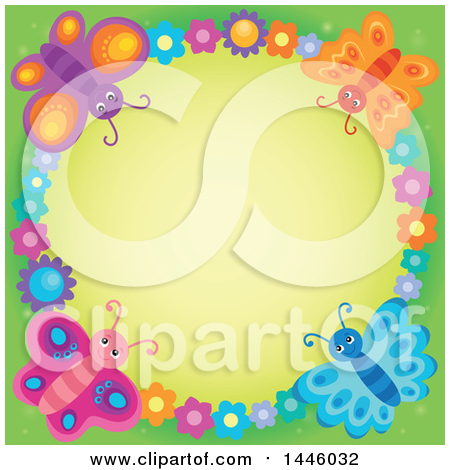 Clipart of a Round Colorful Flower and Butterfly Frame over Green - Royalty Free Vector Illustration by visekart